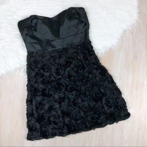 NWT Parella Black Strapless Rosette Dress